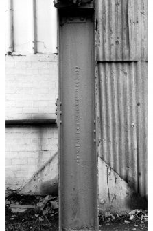Interior-detail of girder showing iron-maker's trade name in former flying-boat hangar