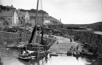 View of slipway at Crail harbour, Shoregate, from south west.