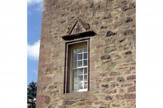 Fingask Castle. Detail of pediment over first floor window in east end wall, dated 1674.