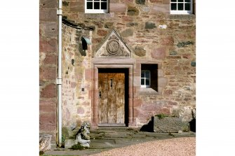 Fingask Castle. View of main entrance and pediment dated 1674.