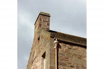 Fingask Castle. Detail of skewputt and crow steps.