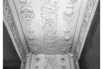 Plaster panelling on stair of dower house.
