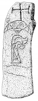 Pabbay, Barra. Pictish symbol stone with later cross.