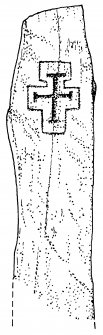Digital copy of drawing of cross-marked stone slab (no.3), Pabbay, Barra.