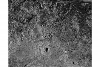 King's Cave, Arran. Detail of incised markings on wall.