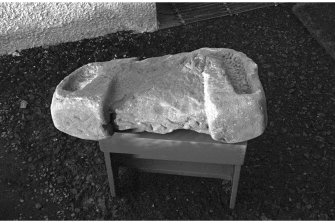 St Mahew's Chapel, Cardross. 'Shrine' fragment. Scan of photograph taken by Mr I Fisher.