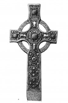 Drawing of West face of Kildalton cross.