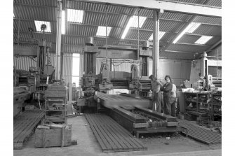 Kilbowie Ironworks Interior view showing planer by Shanks, Manlove Tullis, Clydebank