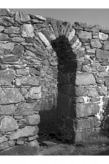 Orsay Island, Chapel. View of South wall, detail of doorway, external face.