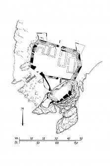 Dunyvaig Castle, Lagavulin Bay, Islay. Copy of publication drawing of plan of site. Ink. Scale 1:400