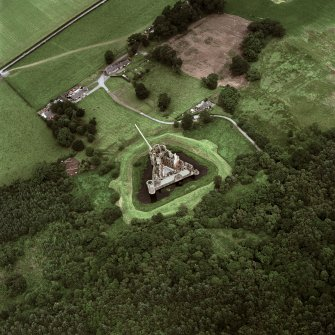 Oblique aerial view of Caerlaverock Castle centred on the castle, taken from the S.