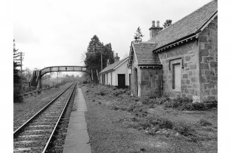 Kincraig Station View from NE showing station house, wooden building and footbridge