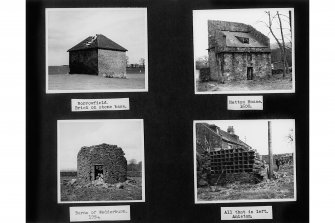 Photographic copy of page of Doocot Photo Album containing four photographs of different dovecots: Insc: 'Borrowfield. Brick on stone base.', 'Hatton House, 1600', 'Barns of Wedderburn, 1954', 'All that is left, Aniston, 1958'.