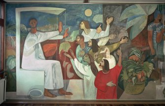 Scan of D 11729/CN. St Columba's parish church, Glenrothes. Main hall, detail of Alberto Morrocco mural on N wall.