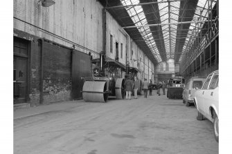 Glasgow, Albert Drive, Coplawhill horse tram depot, interior View of covered way which ran behind the horse tram depot and workshops. At the far end are windows in the long workshop range that were added for the electric trams