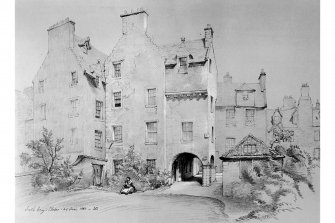 "Photographic copy of drawing of South Gray's Close from James Drummond's ""Old Edinburgh"""