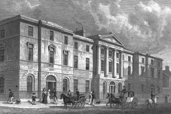 Edinburgh, Leith, Exchange Buildings Photographic copy of engraving showing main entrance front of Exchange Buildings Copied from 'Modern Athens'. Insc. 'Exchange Buildings, Leith. Drawn by Tho. H Shepherd. Engraved by T Higham'