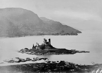 View of Eilean Donan Castle from North East, before reconstruction.   Titled: 'Eilan Donan Castle, Loch Alsh. 815 G.W.W.'