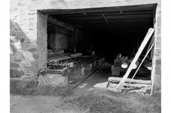 Fortingall, Balnald, Sawmill, Interior View from NE showing travelling-table sawbench of mill