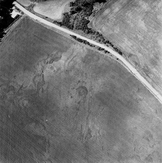 Pityoulish, oblique aerial view, taken from the ESE, centred on the cropmarks of a round house, pits and a possible souterrain.