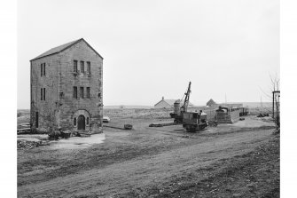 View of pumping engine, Prestongrange Colliery, steam navvy and locomotives to right of shot.