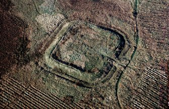 Oblique aerial view of Castle Greg, Roman fortlet.