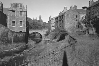 View looking towards Water of Leith Bridge, Holy Trinity Church with Dean School and 12 Hawthornbank Lane and 13 Bell's Brae