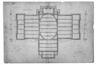 Edinburgh Academy. Photographic copy of plan of foundations showing dimensions. Titled: 'New High School No.2'  '131 George Street July 4th 1823' Ink, wash