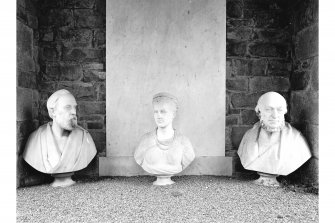 Tongland Abbey, Neilson Mausoleum; Interior View of commemorative busts inside mausoleum