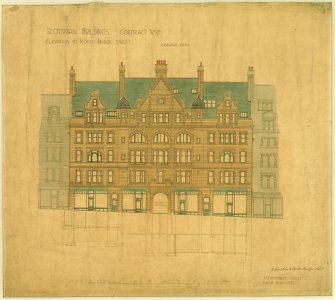 Elevation. Titled:  'Scotsman Buildings  Contract No 4a  Drawing No 10.'   'Elevation To North Bridge Street'. Insc: '35 Frederick Street  Edinr Novr 1900'. Scanned image of D 65101 CN.