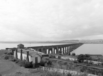 Dundee, Tay Bridge View from Wormit, Wormit Station in foreground