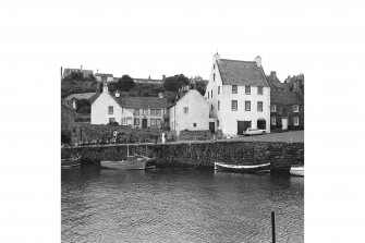 Crail, Harbour View of houses by harbour side