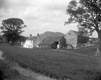 General view of house, out buildings and mill showing wheel, Nether Liberton, Edinburgh