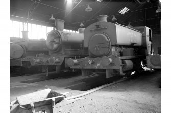 Dalmellington, Waterside Ironworks, Locomotive Repairs Workshops, Interior View showing locomotives in locomotive shed