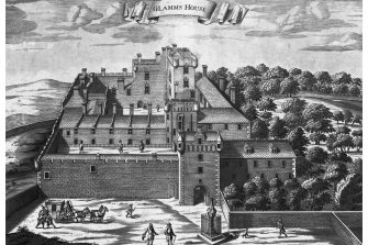 Dalkeith Palace. Engraving showing perspective view. Wrongly inscribed 'Glamms House' from Theatrum Scotiae by John Slezer.