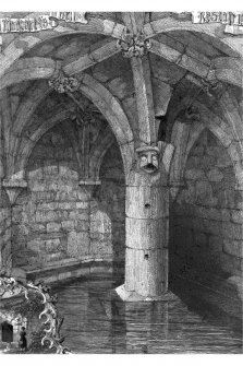Photographic copy of engraving of a view into the well, with and inset vignette showing a maiden approaching the well entrance. Insc: 'St. Margaret's Well, Restalrig'