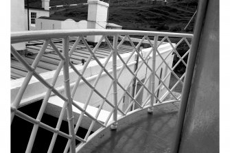 Mull of Kintyre Lighthouse View from parapet; detail of railing and view of keeper's houses
