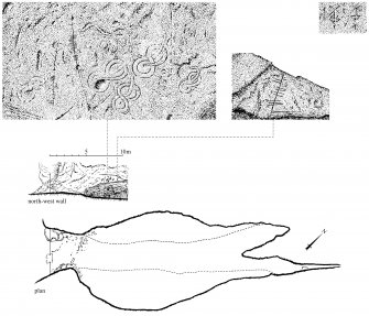 Scanned image of drawings showing plan and part-elevation of north-west wall and incised serpents on north-west wall in King's Cave, Blackwaterfoot, Arran Page 67, figure A of 'Gazetteer of Early Medieval Sculpture in the West Highlands and Islands'