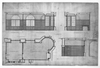 "Edinburgh, 20-36 North Bridge, The Scotsman Buildings.  Photographic copy of details of finishings in proprietors' room. Titled: 'Scotsman Buildings'.   '1/2"" Scale Details Of Finishings Of Proprietors' Rooms Etc   North Bridge Street Level'. Insc: 'No.417'   '35 Frederick St.   Edinr.  Oct. 1902'."