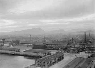 Elevated view of docks towards Arthur's Seat.