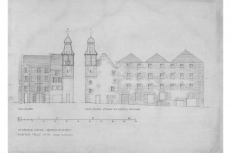 Edinburgh, Quayside Street, Quayside Mills, St. Ninians Manse and Church. Photographic copy of East and North elevations of Manse and adjoining warehouse of Manse. Insc: 'St. Ninian's Manse - and Remains of Church - (Quayside Mills) Leith'