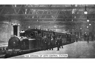 General postcard view of interior. Titled: 'The opening of Leith Central Station'