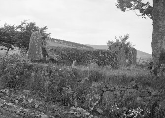 View of recumbent stone and flankers. Original negative captioned: 'Old Keig Stone Circle Recumbent Stone from South West 1908'.