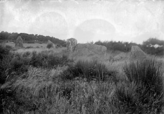 General view of circle. Original negative captioned: 'Stone Circle at Auchquhorthies near Portlethen Station / Oct 1904'.