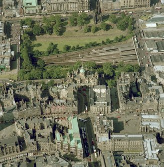 Oblique aerial view, taken from the S, centred on The Mound Bank of Scotland. Digital image of C/40333/CN.