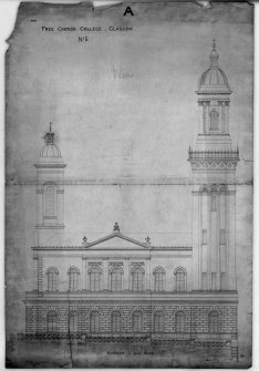 31, 33, 35 Lynedoch Place, Free Church College Photographic copy of pen and ink elevation to India Street Titled: 'For Free College Church, Glasgow  No 5  A' Signed: 'Wilson'  'Charles Wilson - Architect  10th Decr 1855  4/8676'