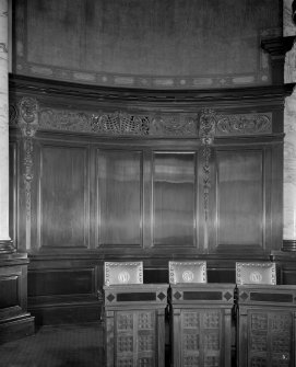 Interior - detail of carved wooden panelling in Trust Hall (Clyde Navigation Trust)