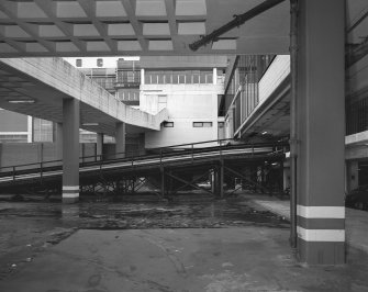 Cumbernauld, town centre, view from SE of north exit from south car park, including bridges and ramps. Digital image of B/45095.