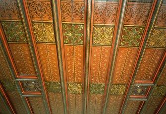 Interior. Detail of panelled and stencilled drawing room ceiling. Digital image of E 2269 CN.