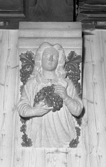 Interior. Detail of carved angel in dining room. Digital image of E 2286.